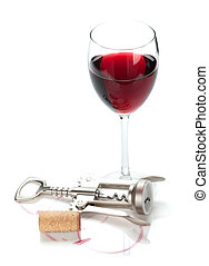 Red wine glass, cork and corkscrew