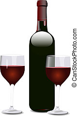 Bordeaux shaped red wine bottle, and two wine glasses. Each element and the shadows on separate layers.