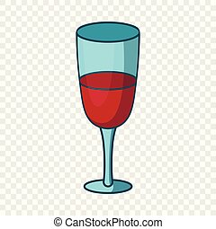Red wine glass icon, cartoon style