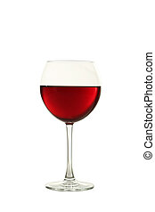 Red wine glass isolated on white