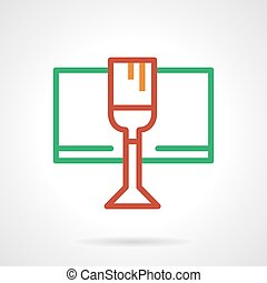 Red wine glass simple color line vector icon
