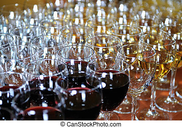 red wine glasses backgound party