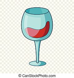 Red wine goblet icon, cartoon style