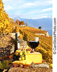Red wine, grapes and chesse on the terrace vineyard in Lavaux region, Switzerland