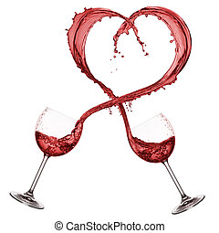 red wine heart shaped