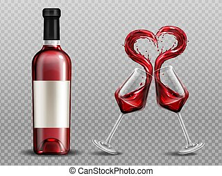 Red wine heart splash in wineglasses and bottle