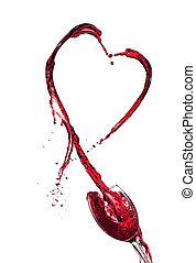 Red wine heart splashing from glass, isolated on white background