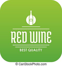 Red wine icon green vector