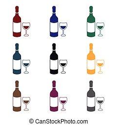 Red wine icon in black style isolated on white background. Alcohol symbol stock vector illustration.