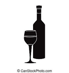 Red wine icon in black style isolated on white background. Greece symbol stock vector illustration.