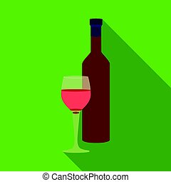 Red wine icon in flat style isolated on white background.