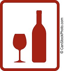 red wine icon with bottle and glass