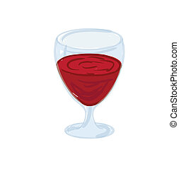 red wine in a glass, vector illustration