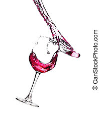 Red wine in glass on white background