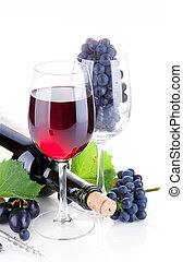 red wine in glass with grapes isolated on white background