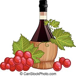 Red wine in italian fiasco bottle decorated with red grapes...