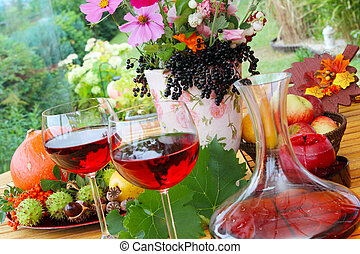 Red wine in late summer on the terr