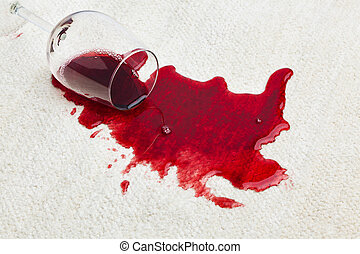 Red wine is spilled on a carpet. Emptied the other glass