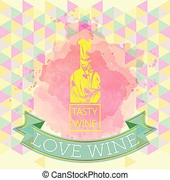 Red wine love and tasting card, yel