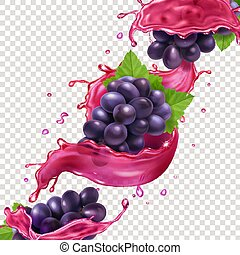 Red wine or juice splash and grape brunch realistic vector ilustration