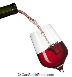 Red wine pouring into glass with splash isolated on white