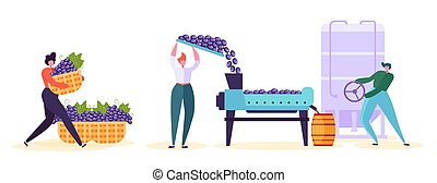 Red Wine Production Factory Character Set. Winery Process Line Infographic Collection. Winemaker Woman Fermentation