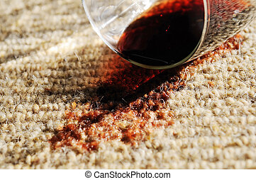 Red Wine Spill on a Pure Wool Carpet - A glass of red wine...