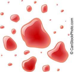 Red wine splash. Bloody spots. Blood scarlet drop. Fluid...