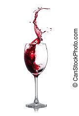 Red wine splash over white background