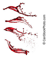 Red wine splashes - Isolated shot of red wine splashes on...