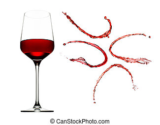 Red wine splashes with glass isolated on white background