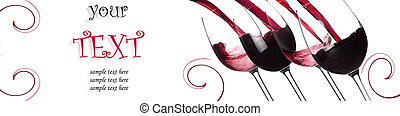 Red wine splashing background with sample text on a white