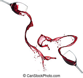 Red wine splashing from glasses, isolated on white background