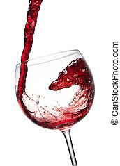 red wine splashing in a glass