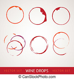 Red wine stain over gray background. Vector Illustration,...