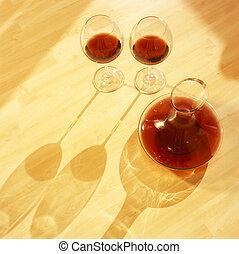 red wine still life