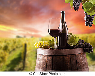 Red wine still life with vineyard on background - Detail of...