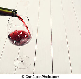 Red wine - Alcoholic drink. Red wine pouring