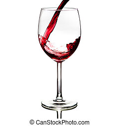 red wine - pouring red wine isolated on white background