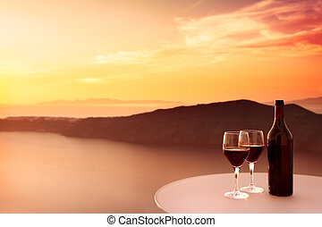 Red Wine Sunset - 2 glasses of red wine and beautiful sunset