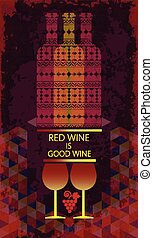 Red wine tasting and love card, two