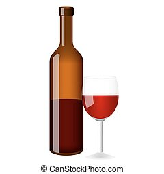 Red wine vector bottle and glass