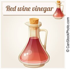 Red wine vinegar. Detailed Vector Icon. Series of food and...