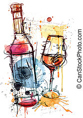 Red Wine Water Color - This Red Wine Vector Image was analog...