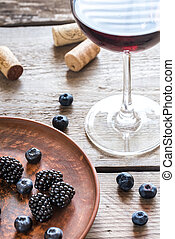Red wine with berries