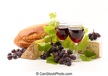 red wine with bread and cheese