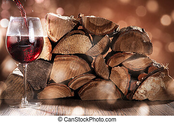 red wine with firewood