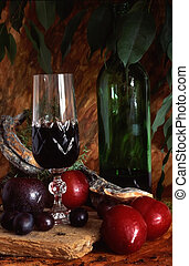 Red wine with fruits