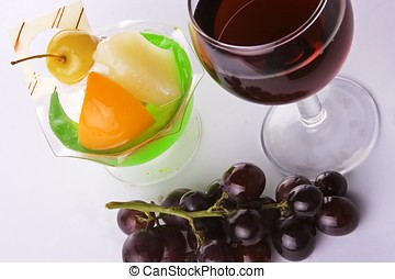 Red Wine With Grapes And Dessert