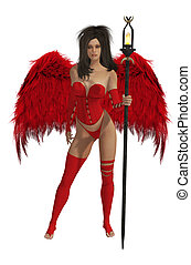 Red Winged Angel With Dark Hair - Red winged angel with dark...